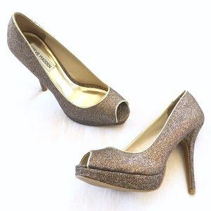 Steve Madden Kelle Glitter Platform Peep Toe Heels